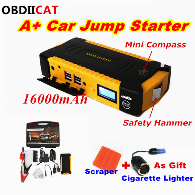 A+Car Jump Starter Battery 12V Capacity 16000mAh Petrol&Diesel Starting Devi Compass SOS Lights Portable Car Jumper Power Bank