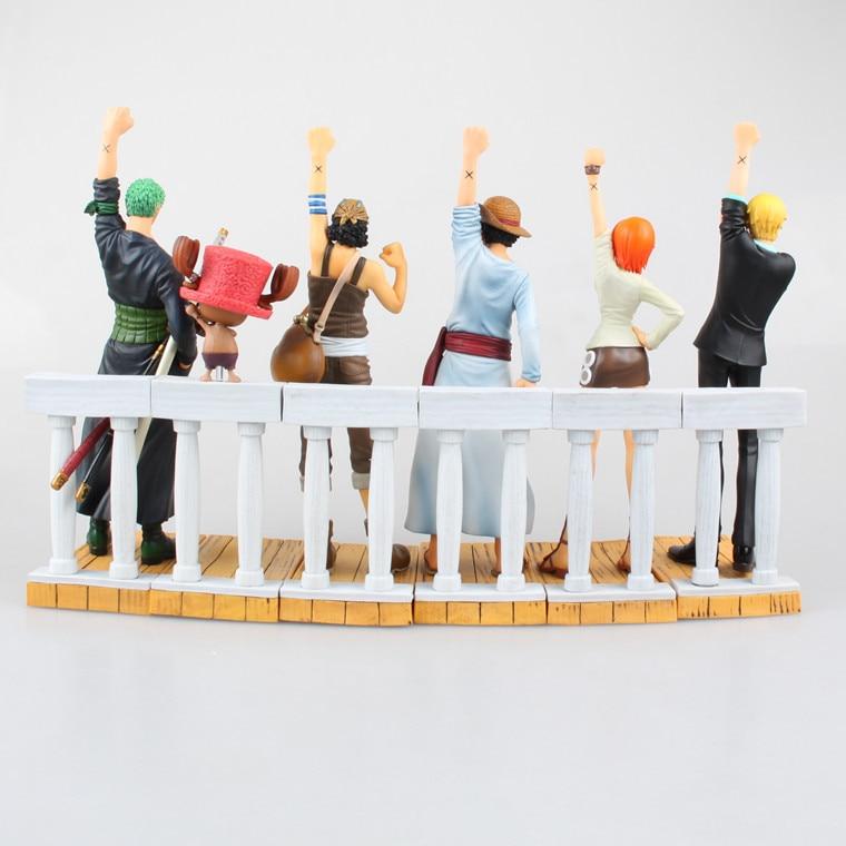 цена на Anime One Piece DRAMATIC SHOWCASE 1st Season Luffy Zoro Nami Usopp Sanji Chopper PVC Action Figures Collectible Toys 6pcs/set