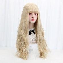 """3"""" блонд косплей Лолита парик с челкой длинные волнистые синтетические волосы Косплей Костюм парик для женщин Лолита парик высокотемпературное волокно"""