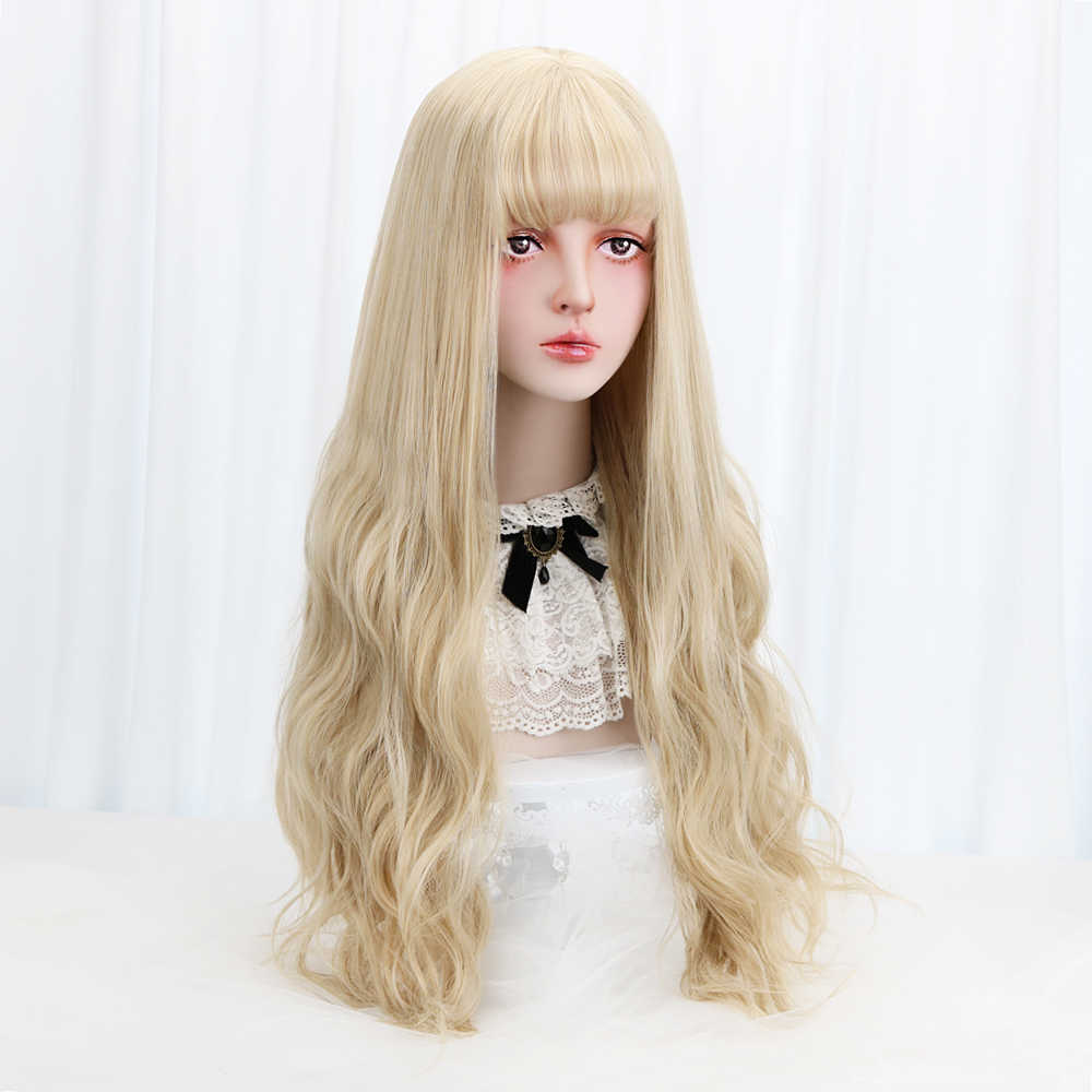"32""Blonde Cosplay Lolita Wig With Bangs Long Wavy Synthetic Hair Cosplay Costume Wig For Women Lolita Wig High Temperature Fiber"
