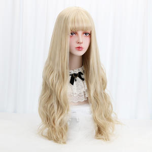 Lolita Wig Blonde Synthetic-Hair Bangs-Long Cosplay Women Wavy with Costume for High-Temperature-Fiber