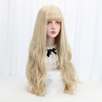 32Blonde Cosplay Lolita Wig With Bangs Long Wavy Synthetic Hair Cosplay Costume Wig For Women Lolita Wig High Temperature Fiber