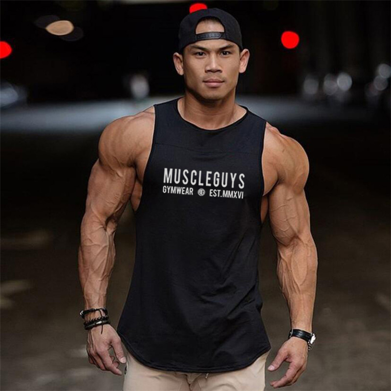 New Bodybuilding Clothing Fitness Stringers Sleeveless T Shirt Men Running Vest Gym Tank Top Muscle Undershirt Sport Tanktop