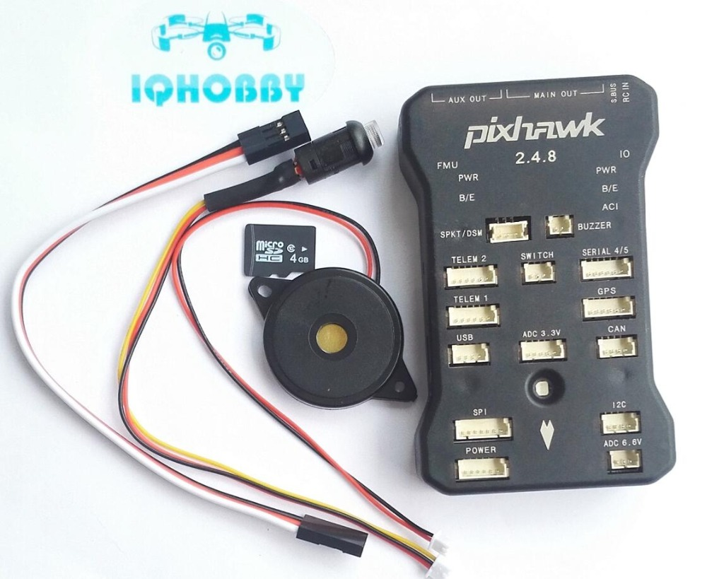 Free Shipping Pixhawk 2.4.8 PX4 Autopilot PIX 32Bit Flight Controller with Safety Switch & Buzzer/ 4GB T-F Card / Cables