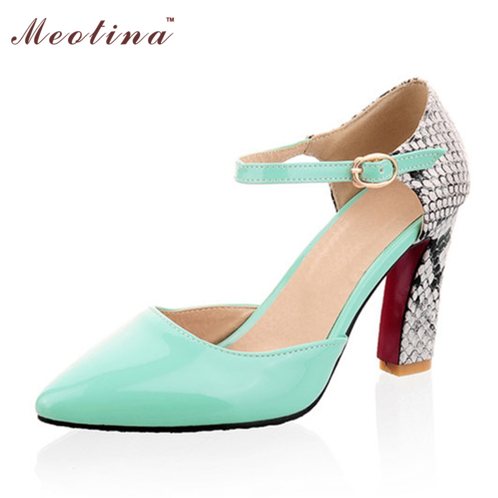 99c0244ede5a6 Meotina Women Shoes Pumps Pointed Toe High Heels Sexy Two Piece Ankle Strap  Heels Party White Lady Shoes Yellow Size 11 12-in Women s Pumps from Shoes