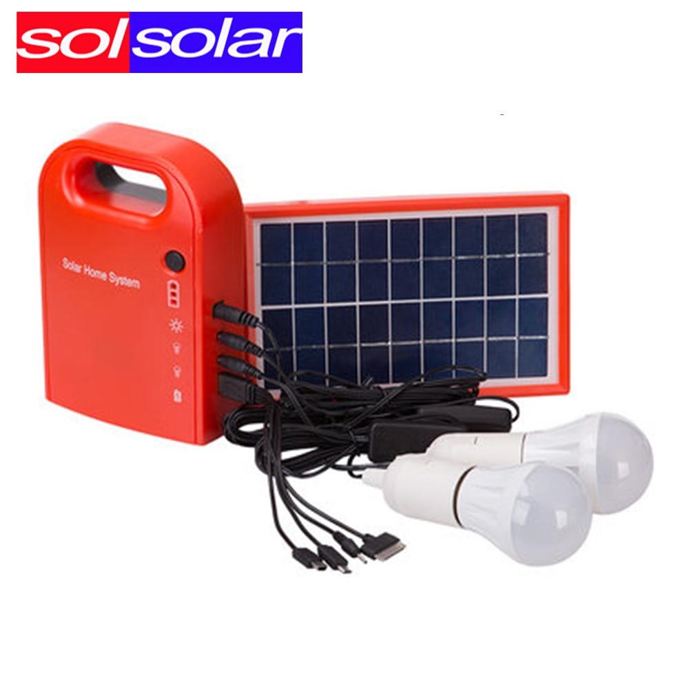 Solar Lamp Garden Light Solar Generator Field Emergency Charging Led Lighting System Home Power bank With 2 bulbs for camping l806 solar 8 led light black