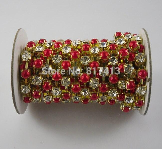 SS28 fashion applique red pearl diamond + glass crystal 6mm rhinestones  close gold cup claw trims de03dd13f005