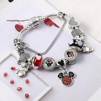 2019 Crystal Mickey Minnie Beads Charm Bracelets & Bangles Silver Color Fine Bracelets for Women Jewellery Pulseira Feminina 1