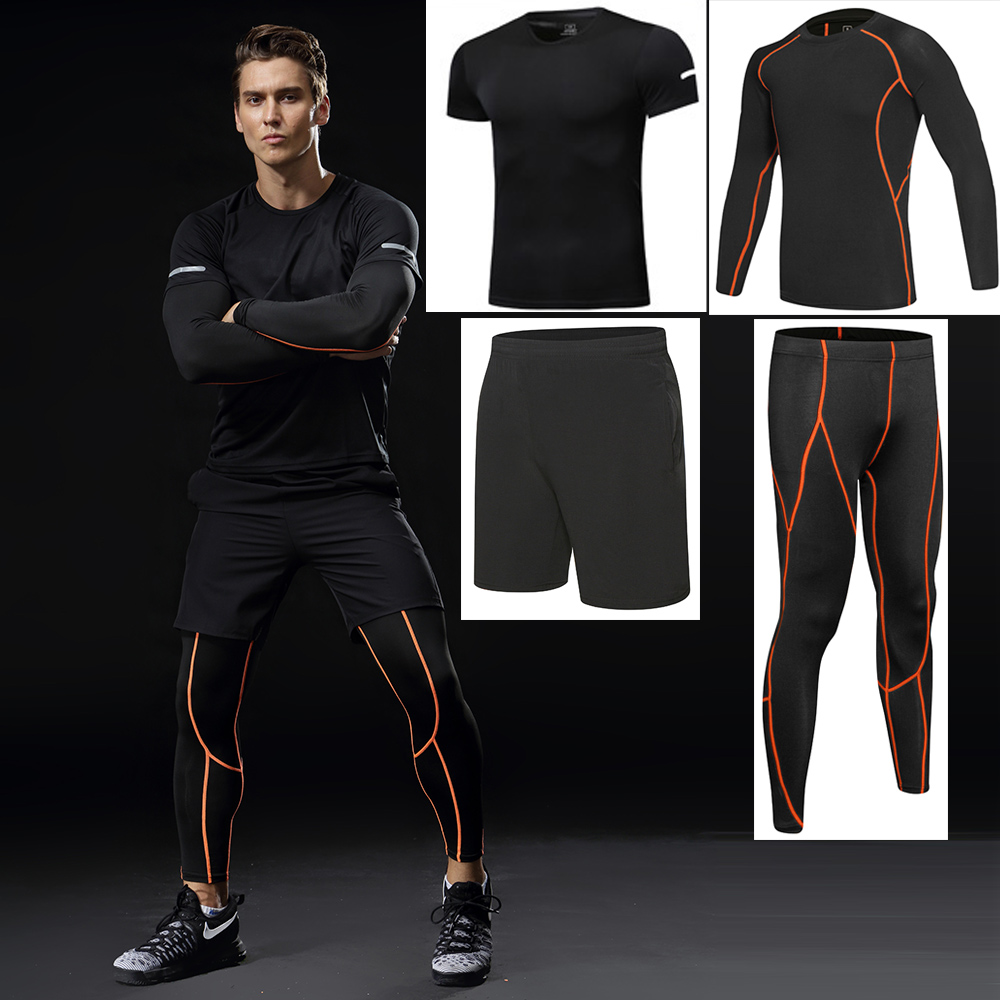 Hommes ensembles de course 4 pièces sec Fit Compression survêtement Fitness serré course ensemble T-shirt Legging Sportswear Gym Sport costume