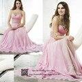Rosa frisada elegante vestidos dividir Chiffon graduação especial ocasião vestidos Vestido de Formatura Longo Gala