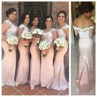 Светло розовые платья подружки невесты Длинные атласные с v образным вырезом аппликации короткий рукав русалка Вечерние вечернее платье дл