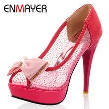 Buy ENMAYERW Summer Women Pumps Shoes Bow Tie Peep Toe Thin Heels Slip-On Platform Large Size 34-43 Black Red Beige directly from merchant!