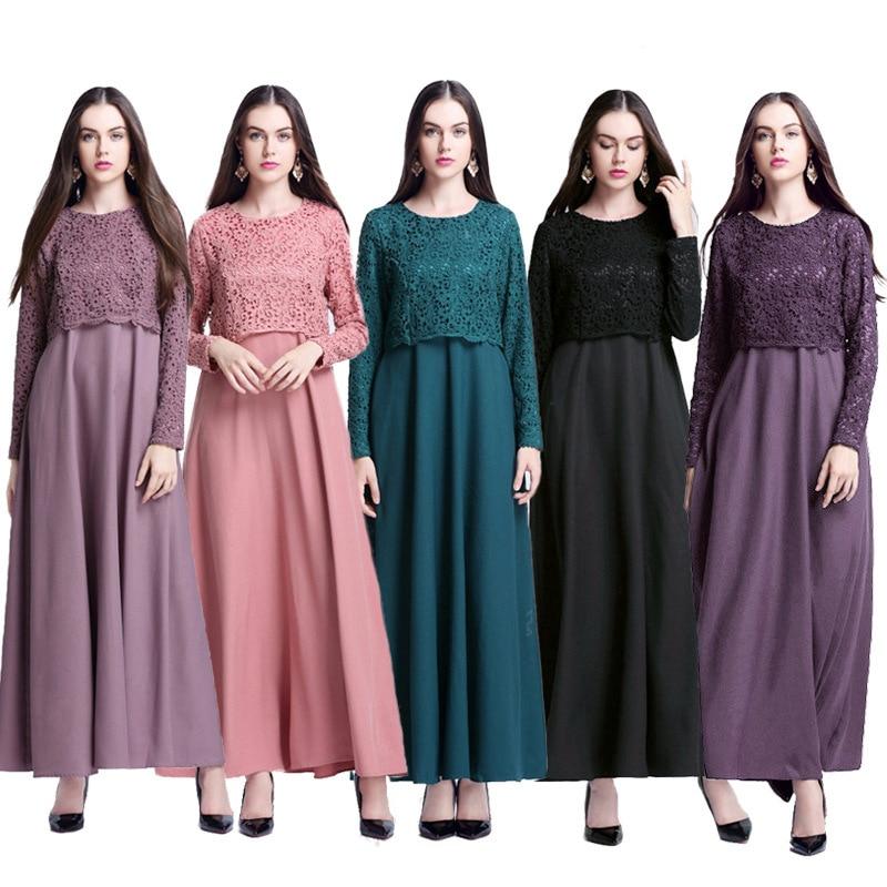 0f473e4655e34e Kopen Goedkoop Vrouwen Islamitische Moslim Abaya Maxi Jurk Lange Mouwen  Dubai Abaya Hijab Kant Jurk Turkse Islamitische Jurken Islamitische Kleedt  Voor ...