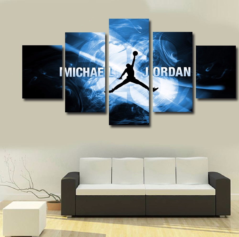 hot sell 5 piece michael jordan star poster cuadros decoracion wall pictures for living room painting