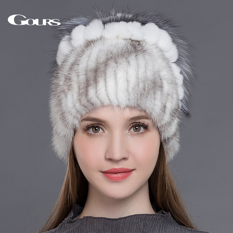 купить Gours Natural Mink Fur Hats for Women Real Fox Fur Rex Rabbit Fur Caps Warm In Russian Winter High Quality Fashion Beanies New по цене 3421.45 рублей