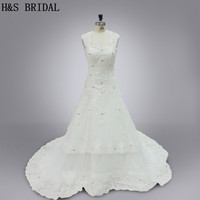 Real Model 2016 Wedding Gown White Elegant Tulle Appliques Beading Crystals Lace Wedding Dresses