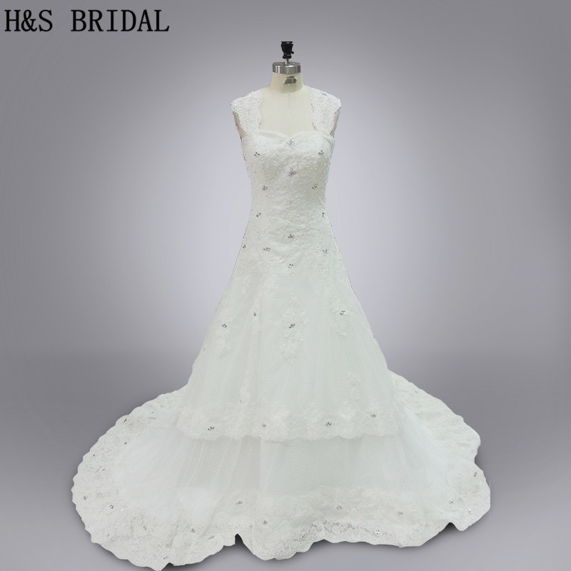 Real Model 2019 wedding gown White elegant tulle appliques beading crystals lace wedding dresses