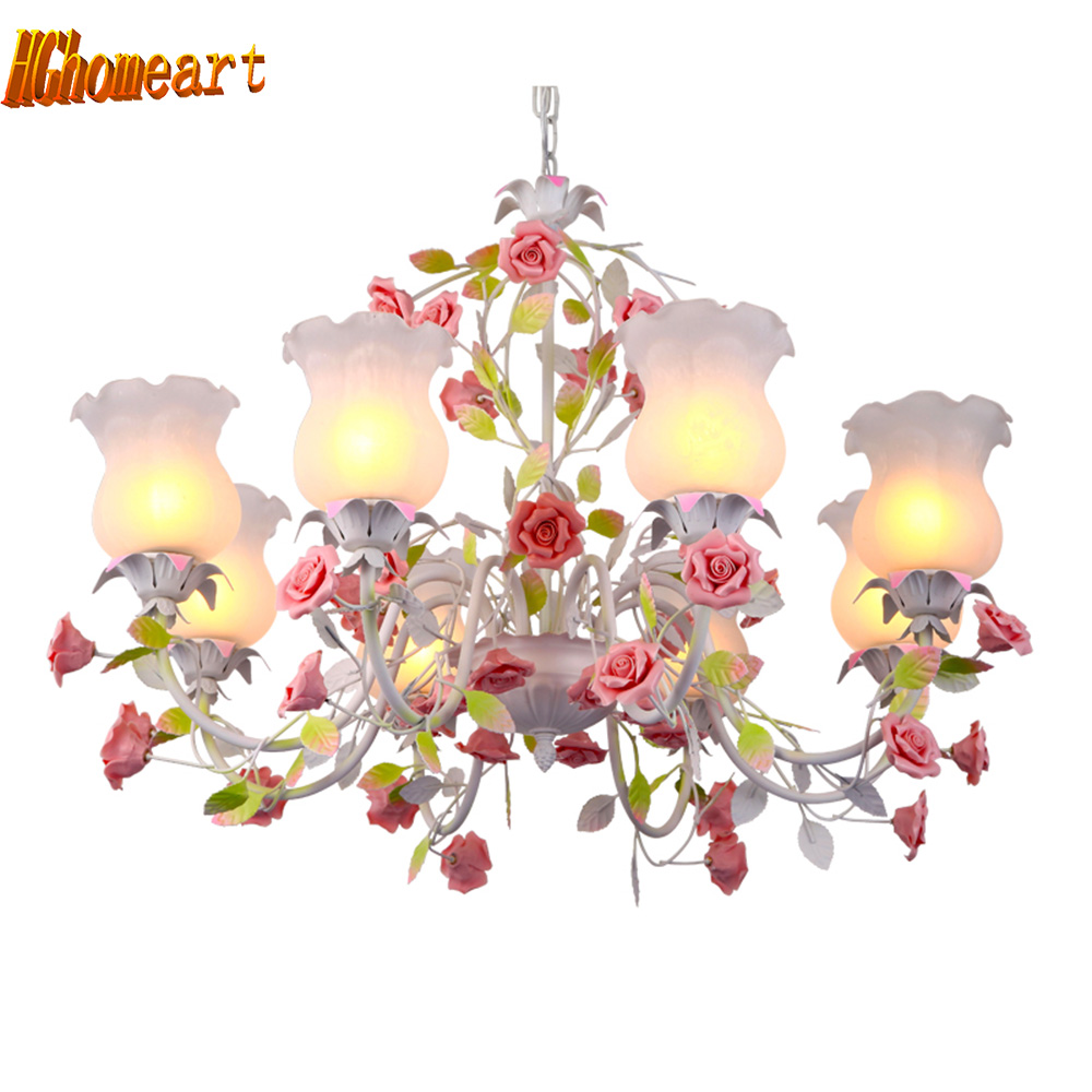 American country pastoral living room chandelier led lamp bedroom iron chandelier Lighting Rose Chandeliers цена