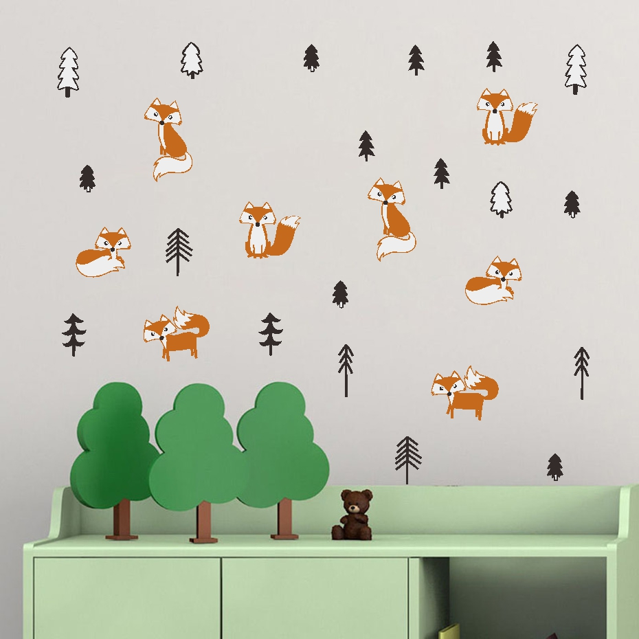 Cute Forest Animal Wall Stickers Kids Nursery Room Decoration Decal Art Home