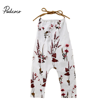 Pudcoco Newborn Kids Baby Girls Floral Romper Strap One-Pieces Summer Cotton Jumpsuit Toddler Girl Clothing