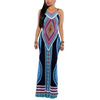 Oioninos Plus Size Women Summer Maxi Dress Bodycon Dresses Sexy Print Halter Sundress Backless Bandage Boho