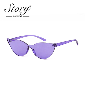 STORY 2019 Rimless Cat Eye Sunglasses Women Vintage Retro Cateye Frame Transparent Lens One Piece Sun Glasses Purple Shades