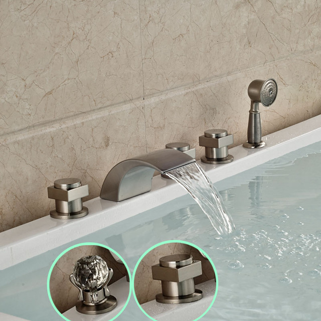 Brushed Nickel Deck Mounted Bathtub Mixer Taps Widespread Faucet Telephone  Style Hand Shower