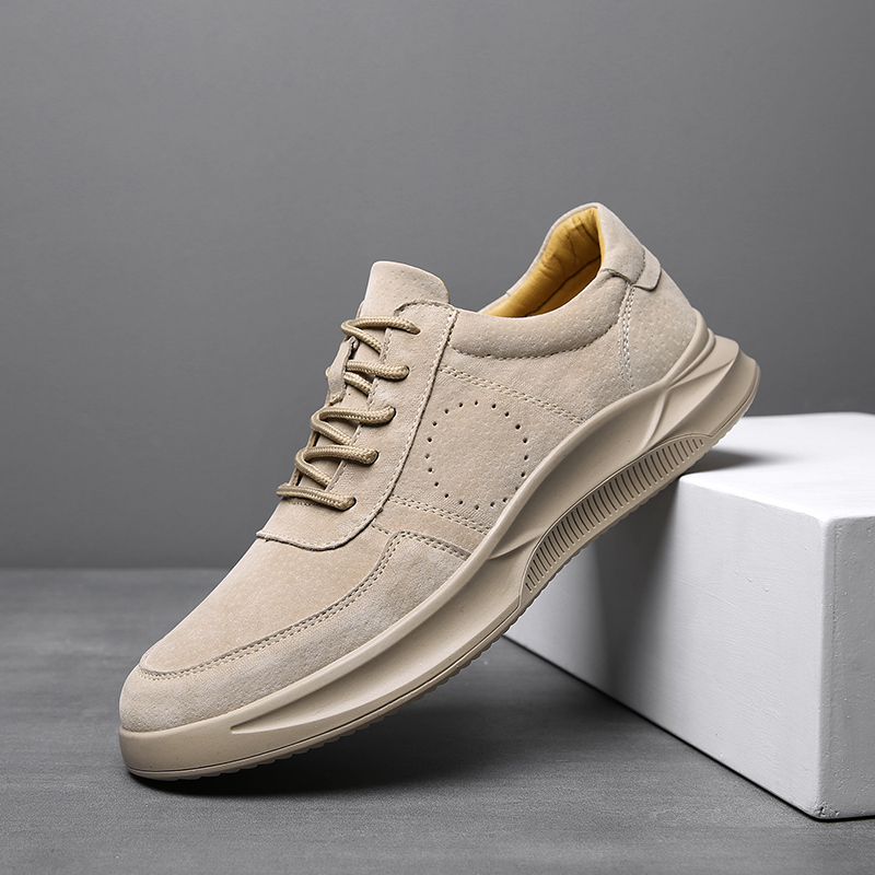 Printemps 2019 cuir véritable, homme Chaussures Gris chaussures décontractées pour jeunes Pour Hommes Marque De Luxe Designer Sneakers Non-Glissement Appartements chaussures hommes