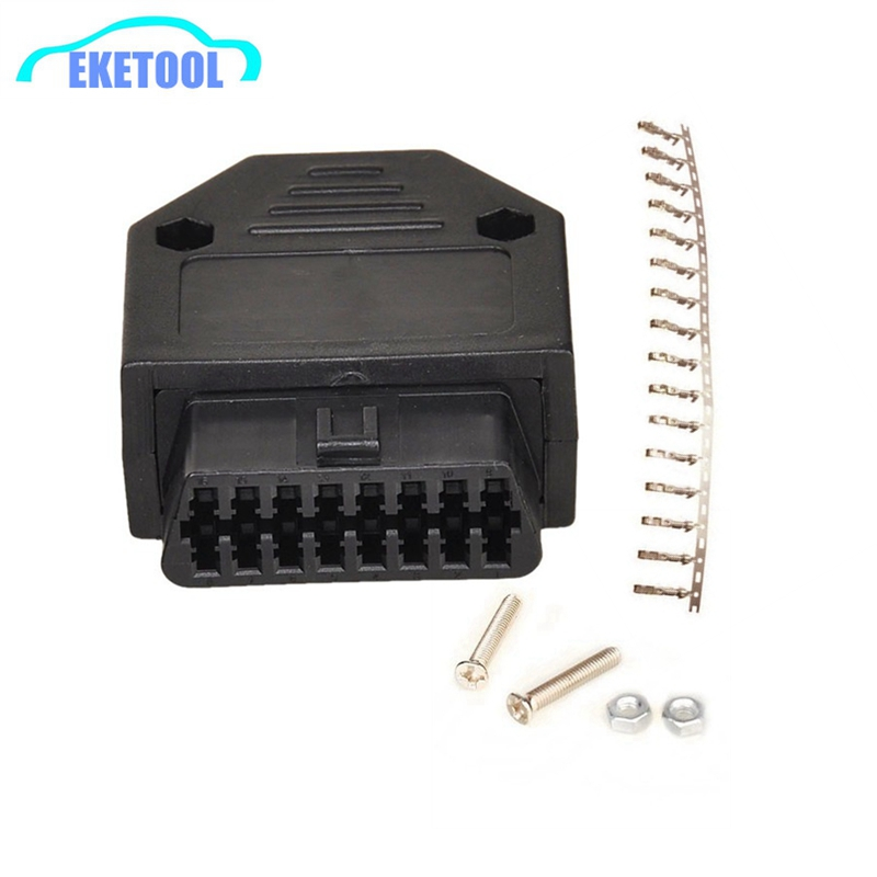 OBD Female Connector Plug+Shell+Terminal+Screw Diagnostic Tool Works For Multi-Cars OBDII Standard Plug J1962F Wiring Adapter