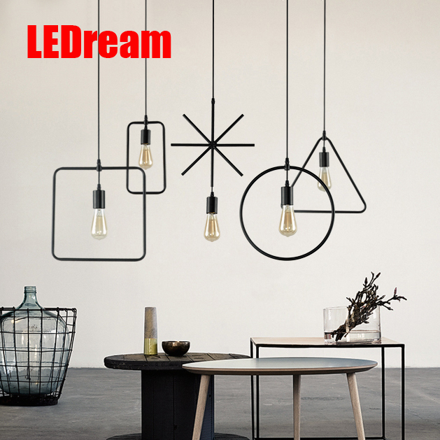 E27 Creative Loft Vintage Geometry Pendant Lamp Iron Retro Northern Europe American Industrial Style Edison Pendant Lights northern individuality creative edison industrial e27 spider lamp coffee house pendant lights free shipping ysl1823