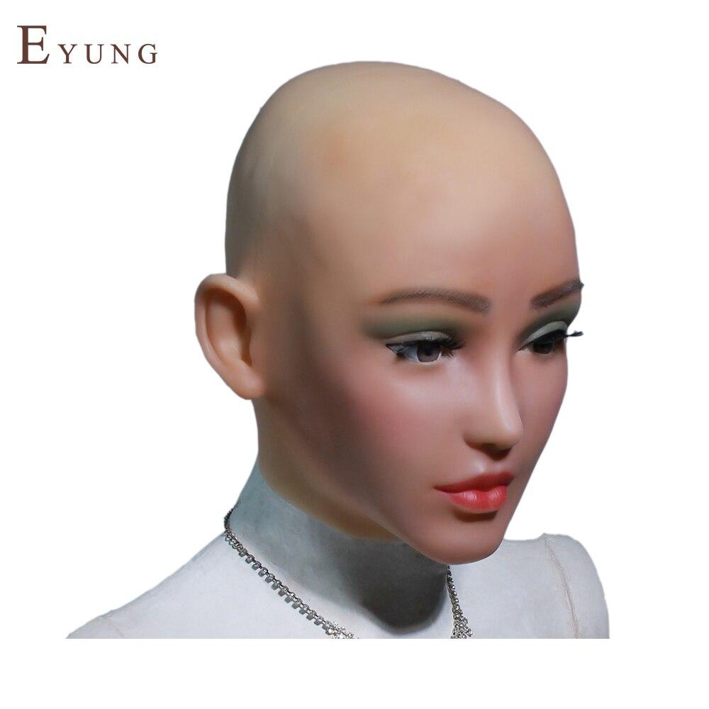 YR-H-Elsa rosto de anjo de silicone pele realista feminino dança do Dia Das Bruxas masquerade cosplay crossdresser drag queen do sexo masculino para feminino
