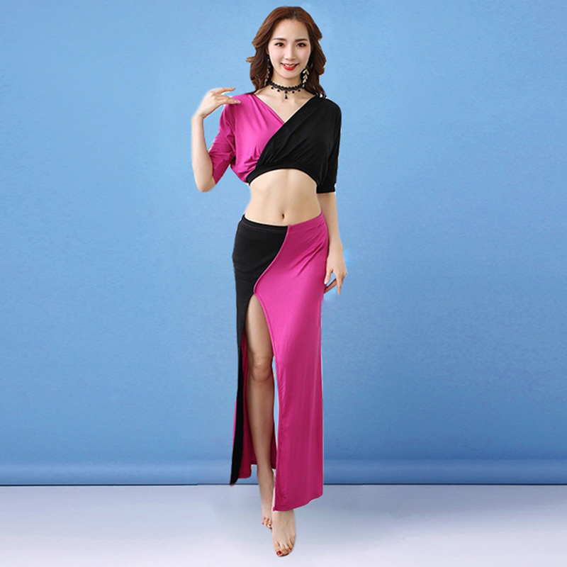 Contrast Color Women Dance Clothes Class Wear Spandex Stretchy Model Outfits V-neck Belly Dance Costume Set 2pcs Top Skirt