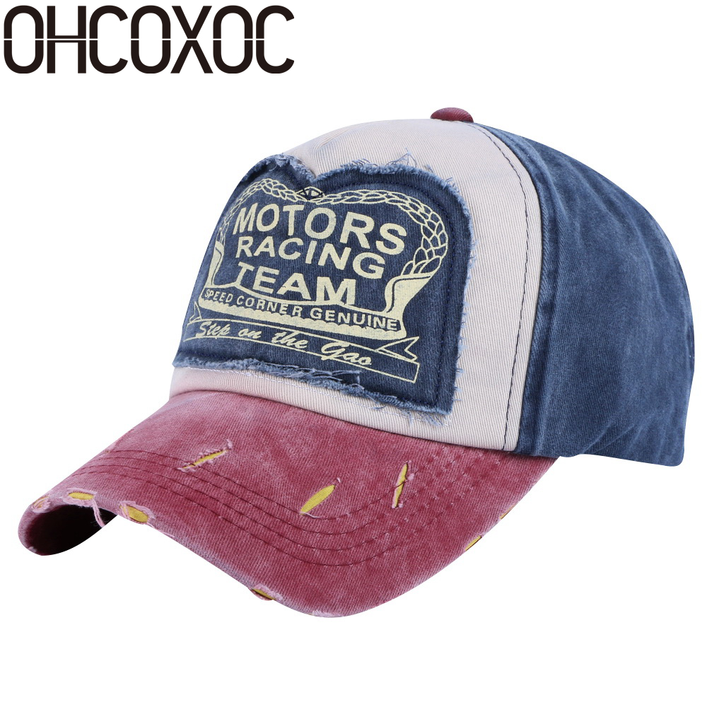 OHCOXOC women men sports caps hats cotton print design hip hop snapback woman man unisex outdoor motors baseball cap wholesale