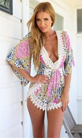 Womens Sexy Jumpsuit printing V Neck sexy shorts Bodysuit Casual Lace Floral Elegant Jumpsuits Rompers