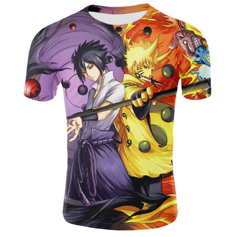 New Sale Anime 3D Printing T Shirt Naruto Costume Streetwear Harajuku Tops Tees Summer Tshirts Unisex Cartoon T-shirt Plus Size