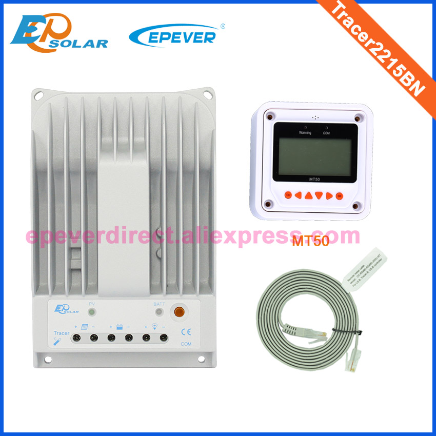 MPPT solar controller Tracer2215BN EPEVER EPSolar MT50 Meter remote 12V/24V auto switch work charger battery 20A 20amps 20a mppt solar battery controller epsolar epever tracer2210an 20amps usb cable and mt50 remote meter temp sensor