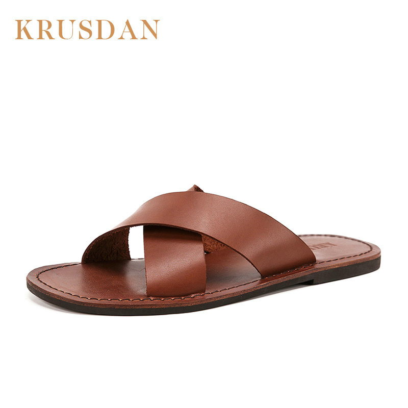 High Quality genuine leather Flip Flops for Man Vintage Summer handmade men s shoes Flat non
