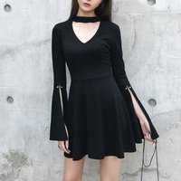 Solid Black V Neck Women Punk Dresses Girls High Waist Long Split Flare Sleeve Sexy Mini Dress Slim Female Clothing