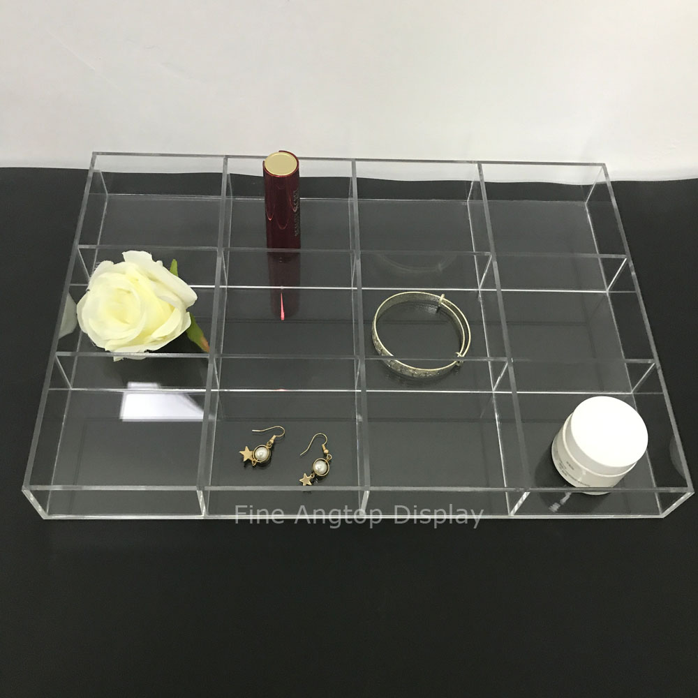Clear Acrylic Jewelry Tray Display Holder for Earrings Rings Necklaces Jewelry Cufflinks With 12 Small Compartments in Jewelry Packaging Display from Jewelry Accessories