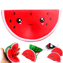 16cm Watermelon Squishy Slow Rising Jumbo Kawaii Smiling Face Squishy Kids Antistress Toy Squeeze Fun Toy Home Office Used(China)
