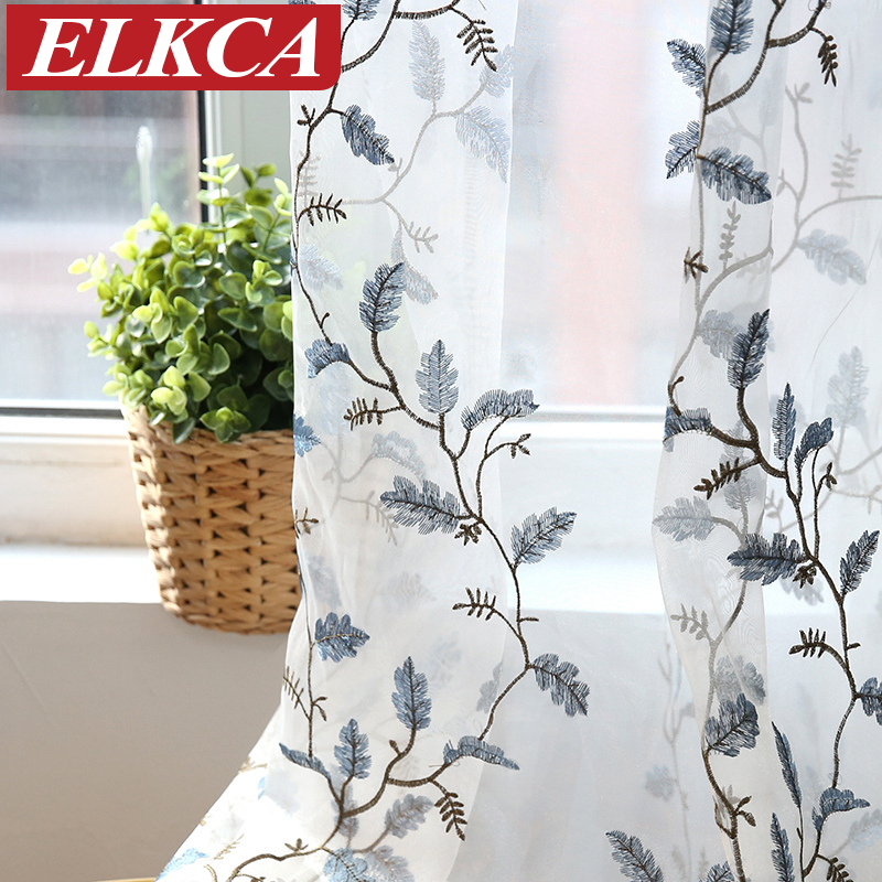 Luxury Leaves Embroidered Voile Curtains for Living Room Sheer Curtains for Bedroom Window Screening Embroidered Tulle Curtains