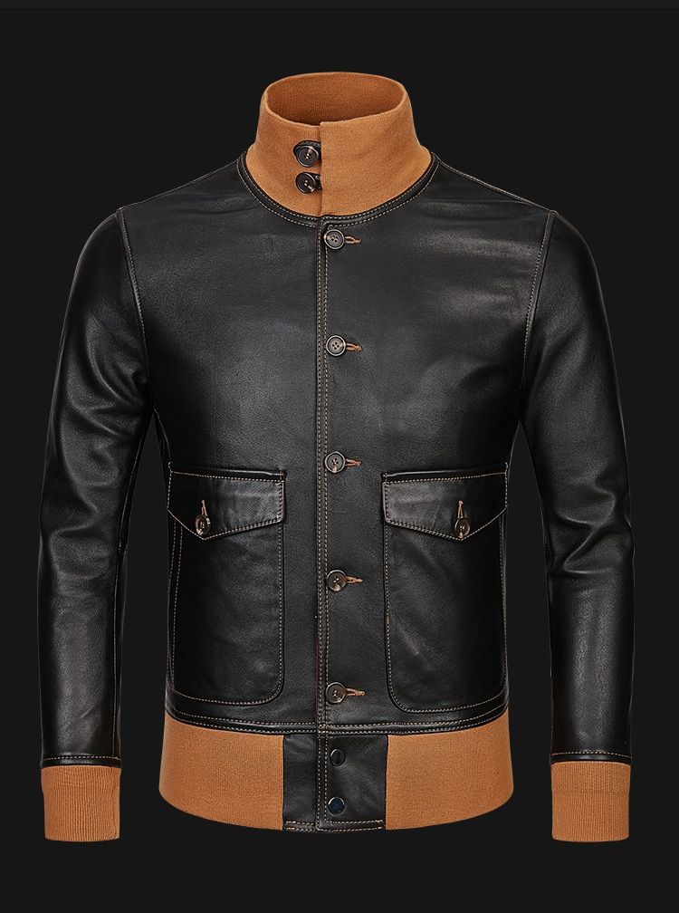Free shipping,mens classic A1 leather Jacket,vintage genuine sheepskin coat.thin soft black men jackets.flight clothing