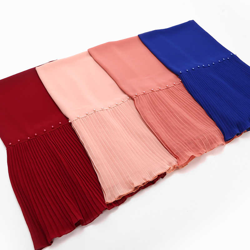 10pcs/lot beads Patchwork pleat pearl bubble chiffon scarf shawls hijab drape stitching crinkled muslim scarves/scarf 23color