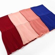 10 pçs/pçs/lote contas de retalhos plissado pérola bolha chiffon cachecol xales hijab drape costura crinkled lenços muçulmanos/cachecol 23 cor