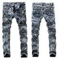 2017New Arrival  Jeans Men Ripped Skinny Biker Jeans Destroyed Frayed Slim Snow Denim Pants Trousers