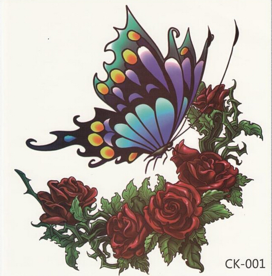 2pcs New Big Large tattoo 3D Butterfly Rose tattoo Red Green Blue Colorful Waterproof temporary