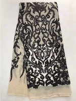 African Lace Fabric Sequins For Dresses 5yard Lot Free Shipping Black Guipure Lace Fabric Sewing 2017