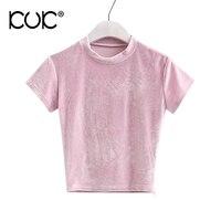 Kuk 5 Color Crop Top T Shirts Women 2017 Summer Short Sleeve Pink Tees Zipper Camiseta