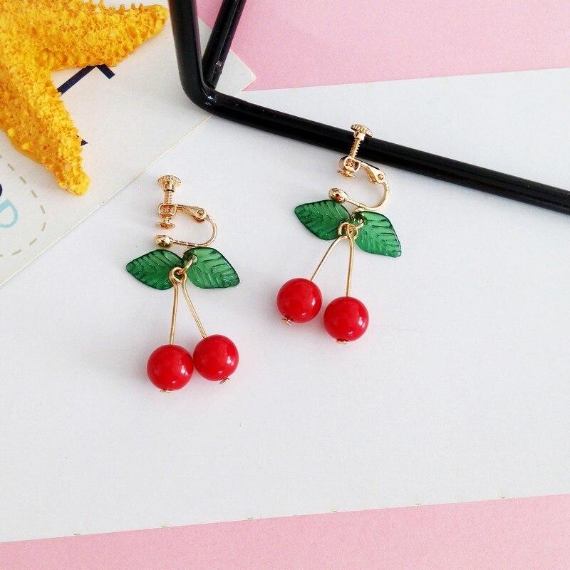 hot red Cherry earrings eardrop Sweet fruit fresh cherry eardrop female fashion youth beautiful girl students earrings for women 8