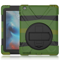 Case For iPad 2 / 3 / 4 Kids Safe Shockproof Heavy Duty Silicone Hard Cover kickstand Hand bracel For iPad2/3/4+ Stylus